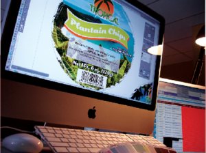 Computer screen with a label being designed