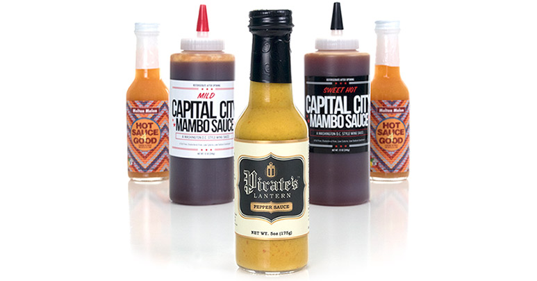 Custom printed sauce labels