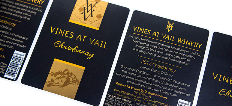 Black and gold custom wine labels for Wines at Vail Winery.