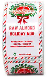Glossy roll label for holiday nog