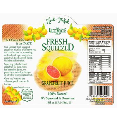 Custom grapefruit juice label
