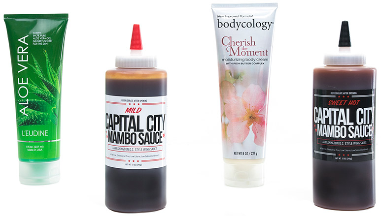 Squeezable lotions and sauces