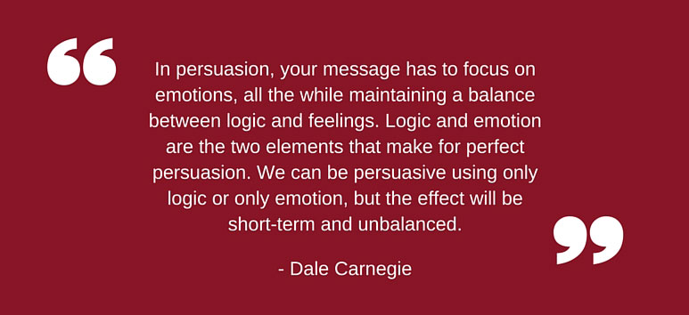 Graphic with a quote by Dale Carnegie about persuasion.
