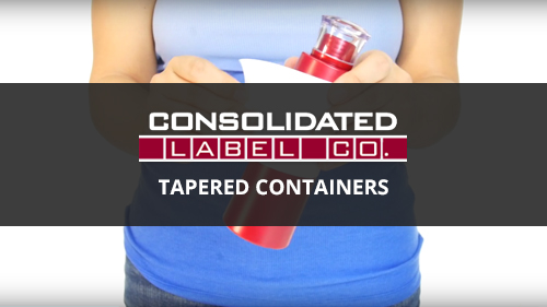 Applying a label to tapered containers