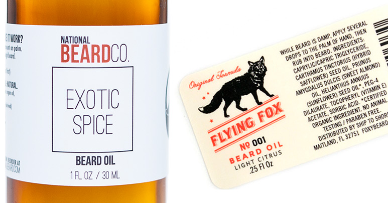 Beard oil labels printed by Consolidated Label