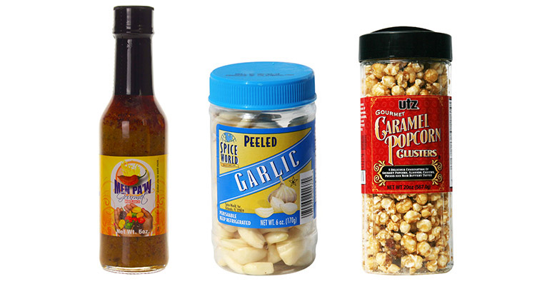 Photo of food products with custom labels