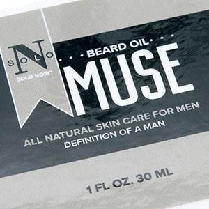 Closeup photo of a custom beard oil label