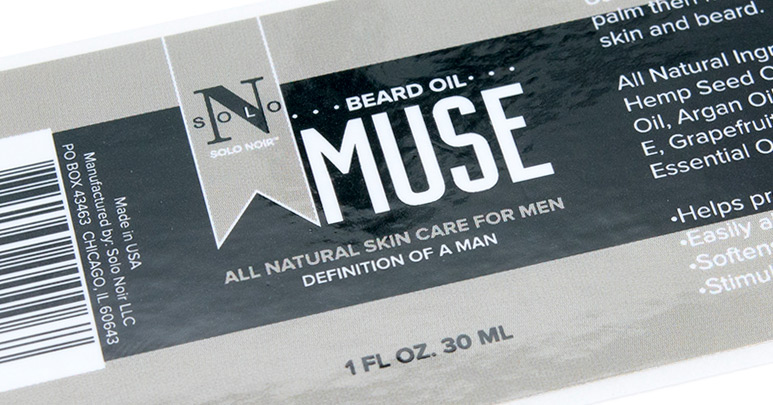 Photo of a custom label for a beard oil product