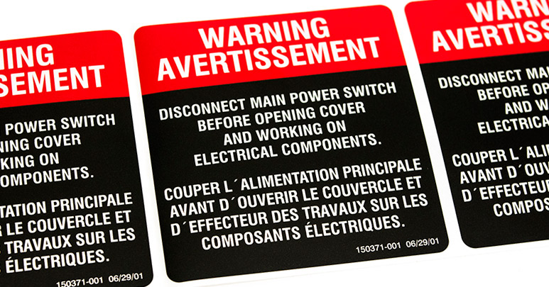 Black and red custom warning labels