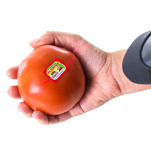 Tomato label with barcode being scanned