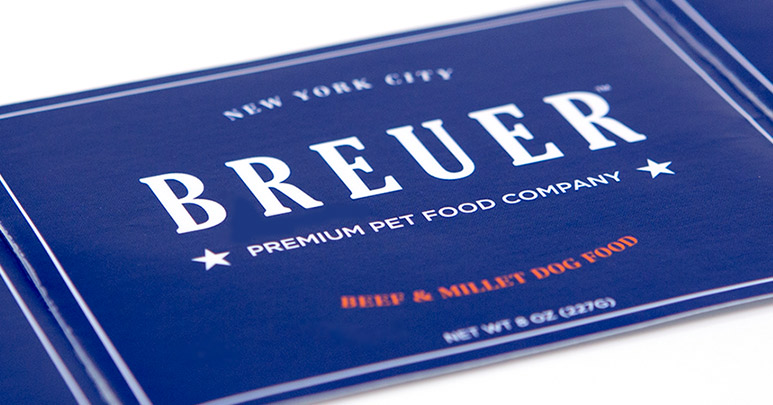 Custom dog food label printed by Consolidated Label