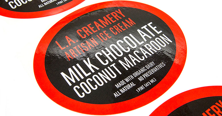 Ice cream oval labels