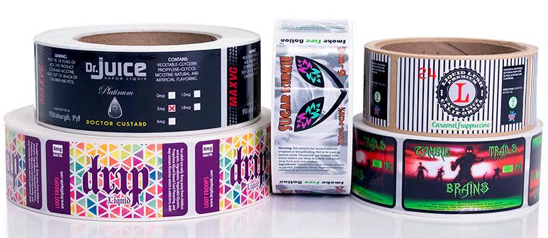 Rolls of e-juice labels