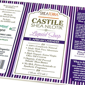 Purple soap labels