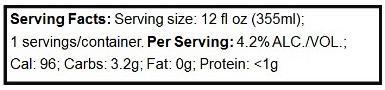 Serving facts for beer labels