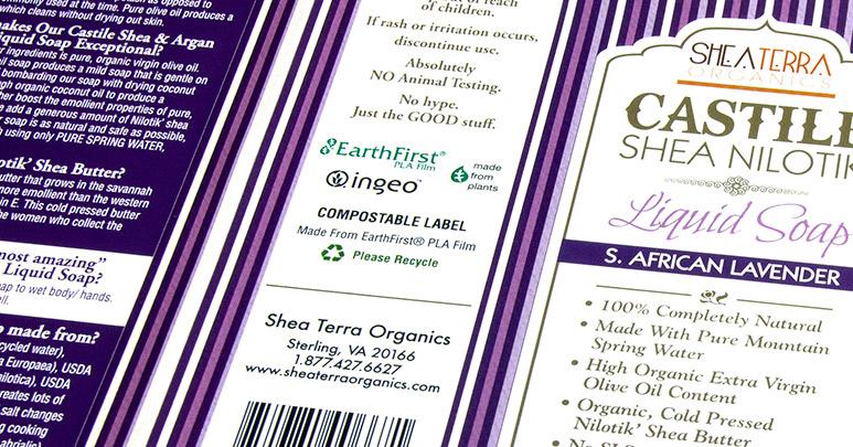 PLA film soap labels