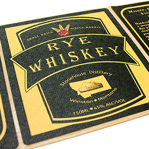 Rustic label for rye whiskey