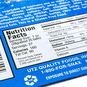 Nutrition Facts Label for Food Products