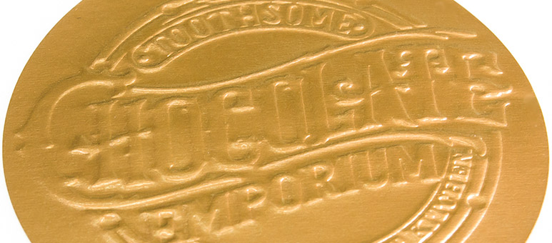 Gold embossed label