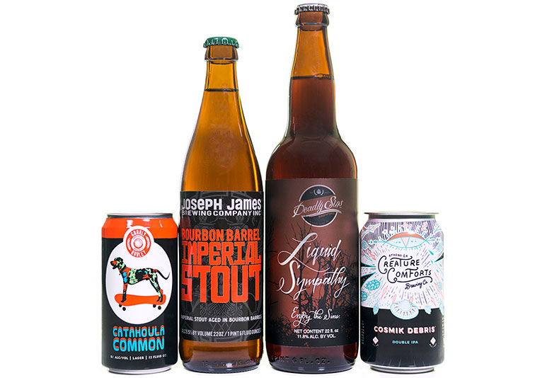Craft beer labels on bottles and cans