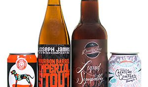 Craft beer bottles and cans
