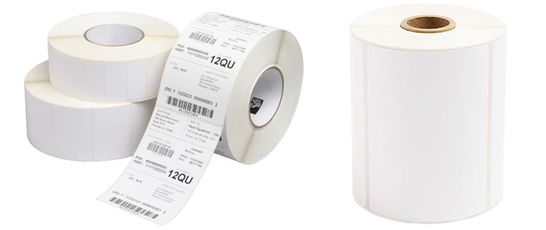 Thermal transfer and direct thermal label rolls