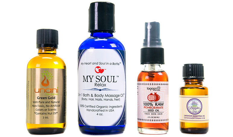 Essential oil labels on products
