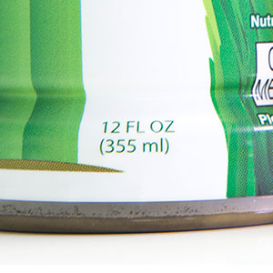 Fluid ounces on shrink sleeve