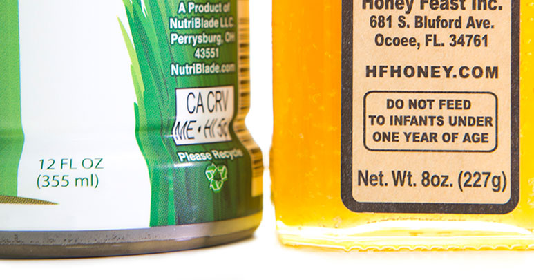 Fluid ounces or net weight on labels