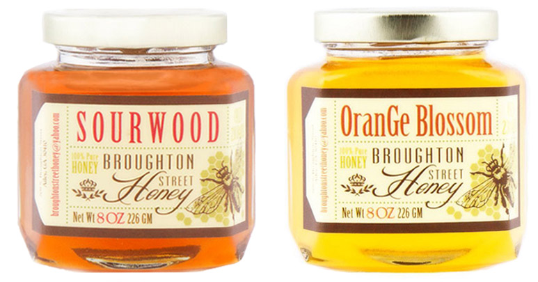 Matte labels on honey jars