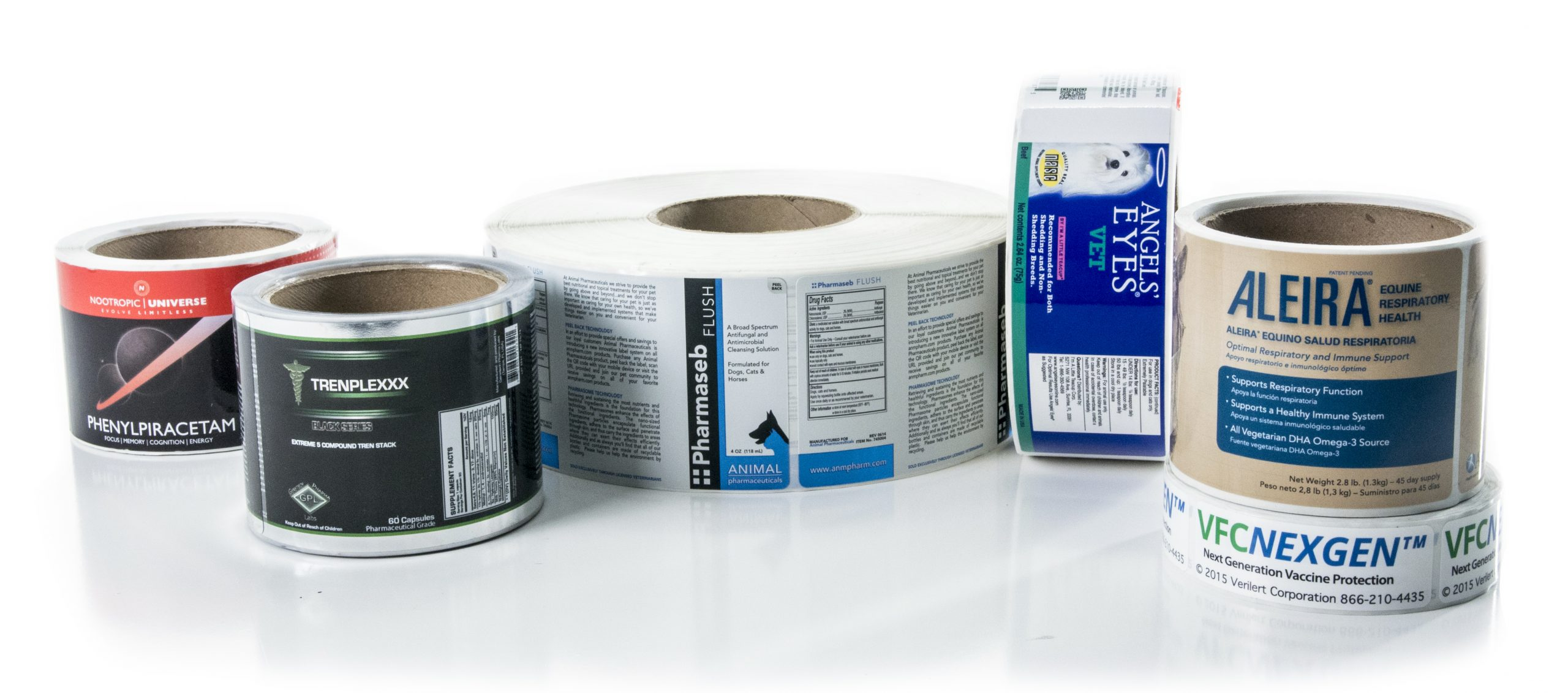 Group of custom roll labels for medical products