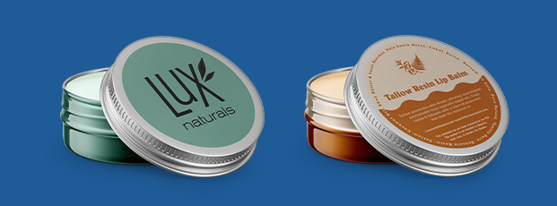 Two Lip Balm Tins with Labels