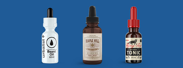 Three Beard Oil Products with Labels