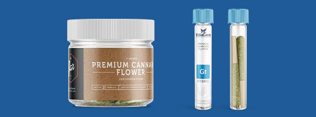 Marijuana Product Label on Jar and Vials