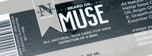 Close-up of Beard Oil Label